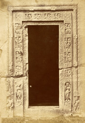 Doorway into right aisle of Buddhist Chaitya Hall, Cave XXVI, Ajanta